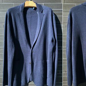 Polo Ralph Lauren Navy Knit Blazer Linen & Wool XL